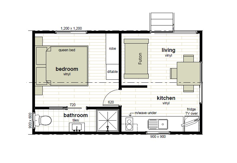 Cabin floor plans oxley anchorage caravan park for Lodge plans with 8 bedrooms